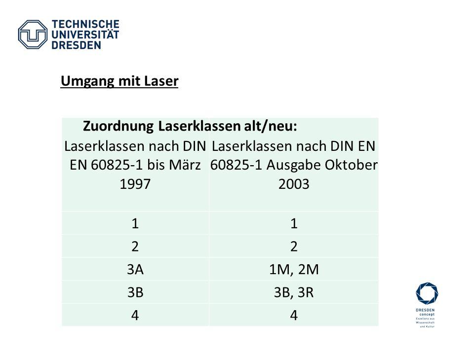 Laserklassen nach DIN EN 60825-1 bis März 1997