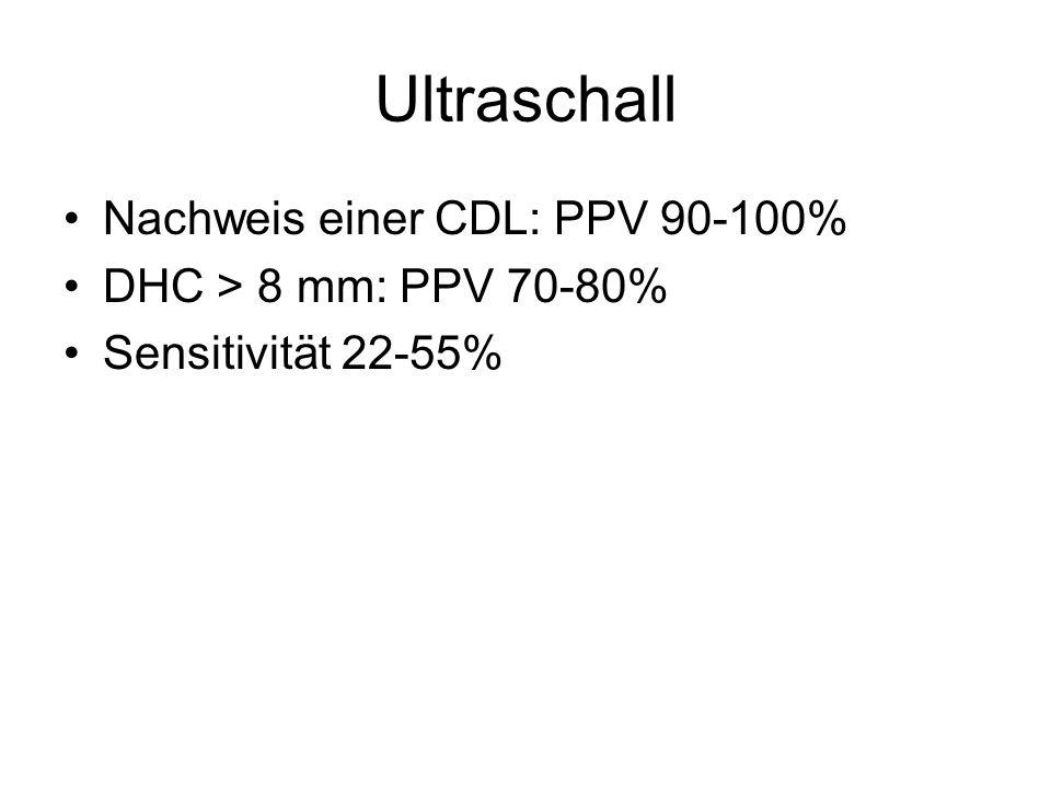 Ultraschall Nachweis einer CDL: PPV 90-100% DHC > 8 mm: PPV 70-80%