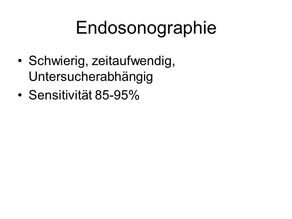 Endosonographie Schwierig, zeitaufwendig, Untersucherabhängig