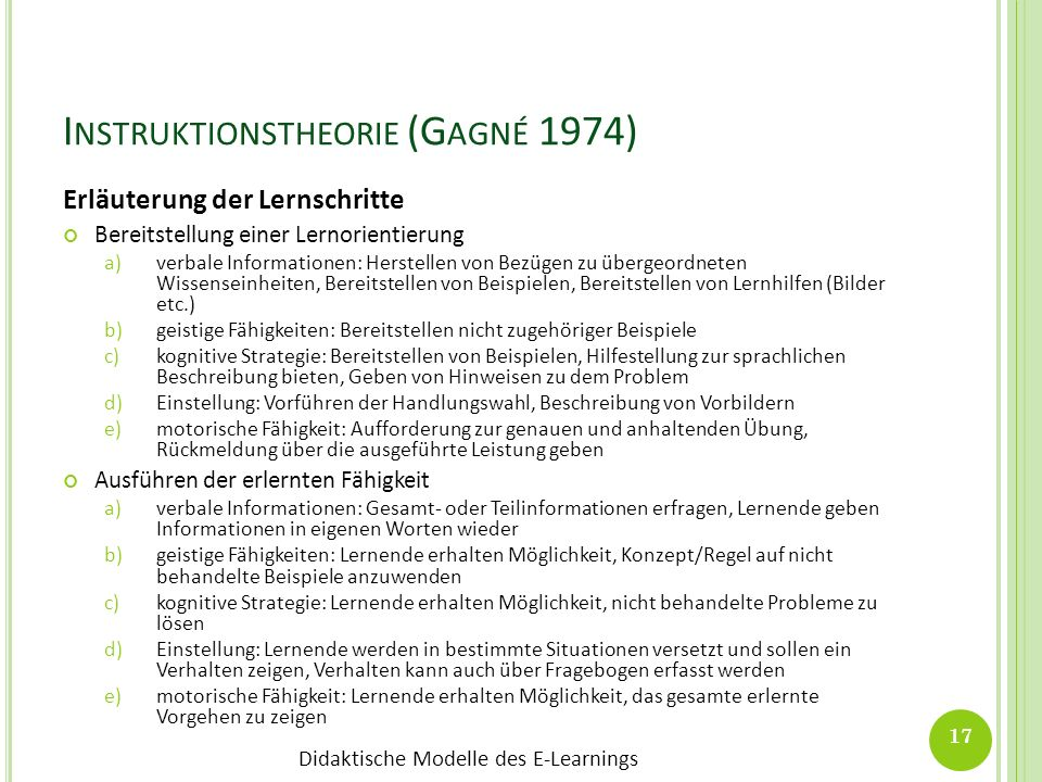 Instruktionstheorie (Gagné 1974)