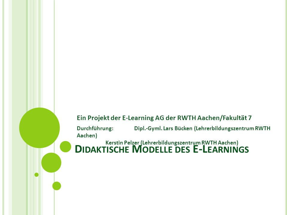 Didaktische Modelle des E-Learnings