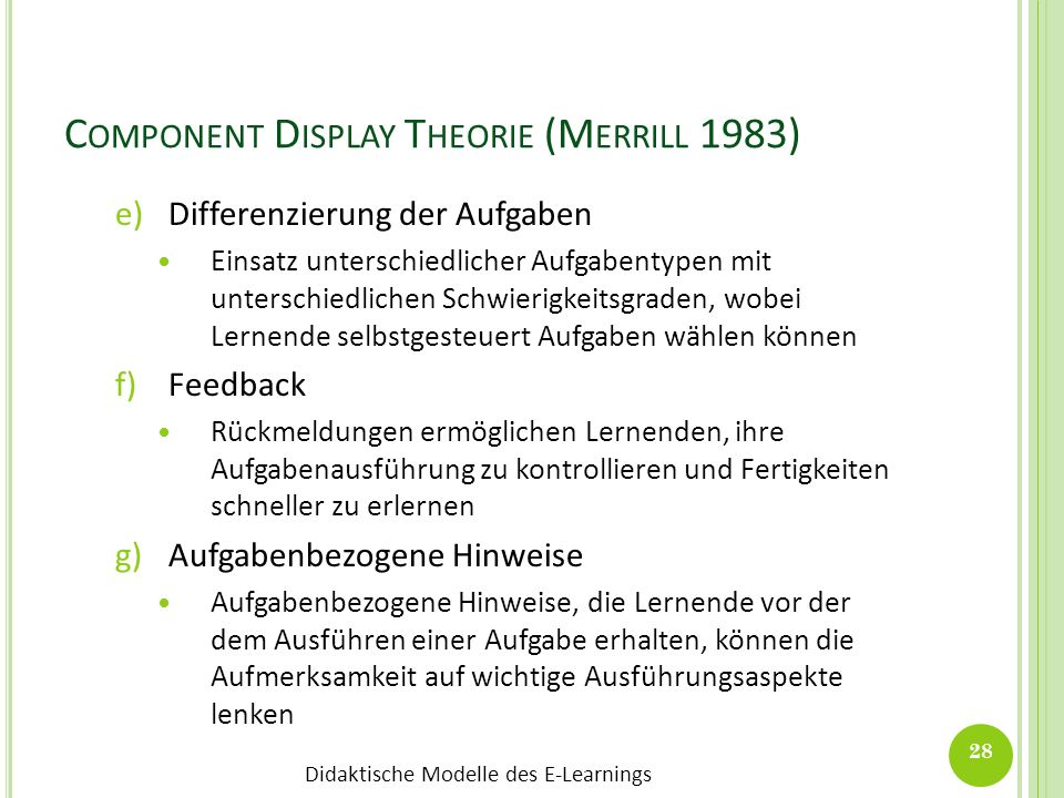 Component Display Theorie (Merrill 1983)