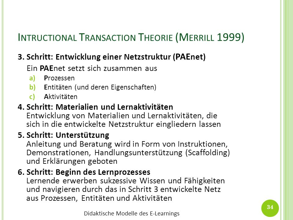 Intructional Transaction Theorie (Merrill 1999)