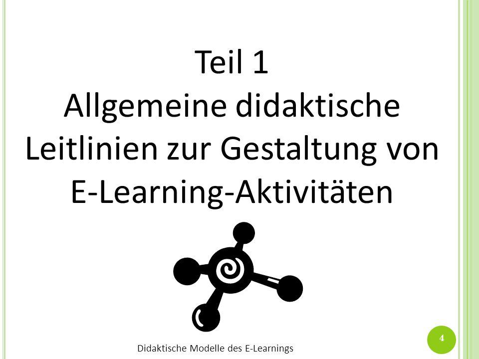 Teil 1 Allgemeine didaktische Leitlinien zur Gestaltung von E-Learning-Aktivitäten