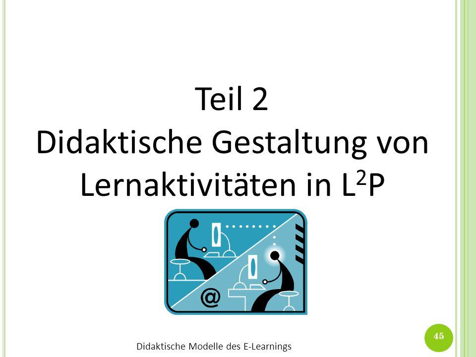 Didaktische Gestaltung von Lernaktivitäten in L2P