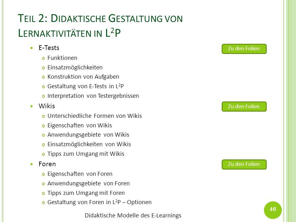 Teil 2: Didaktische Gestaltung von Lernaktivitäten in L2P