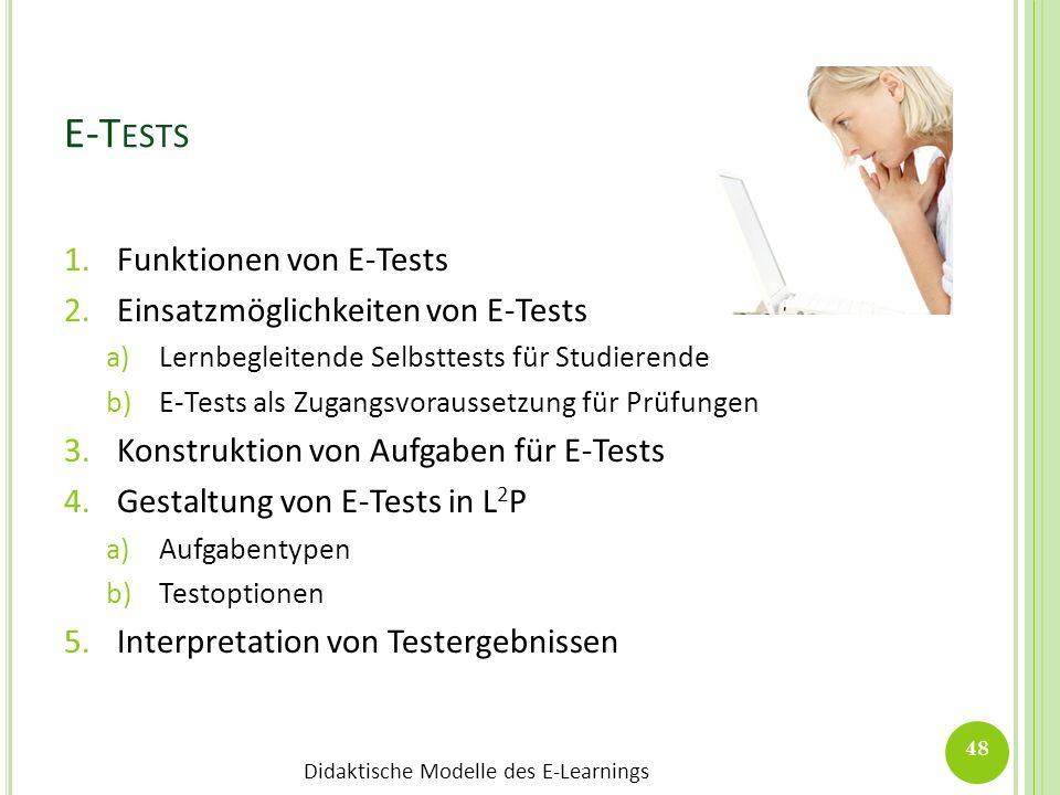 E-Tests Funktionen von E-Tests Einsatzmöglichkeiten von E-Tests