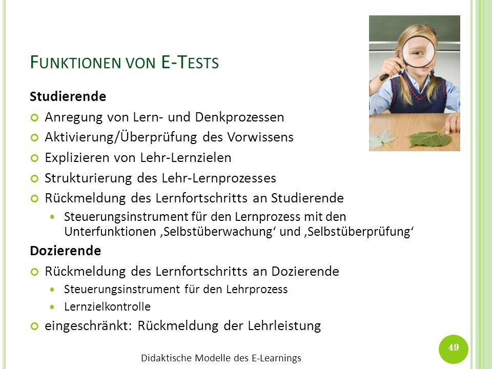 Funktionen von E-Tests
