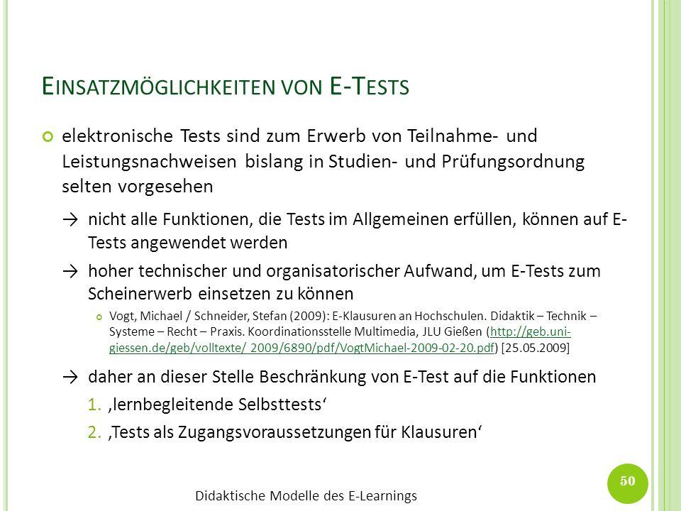 Einsatzmöglichkeiten von E-Tests