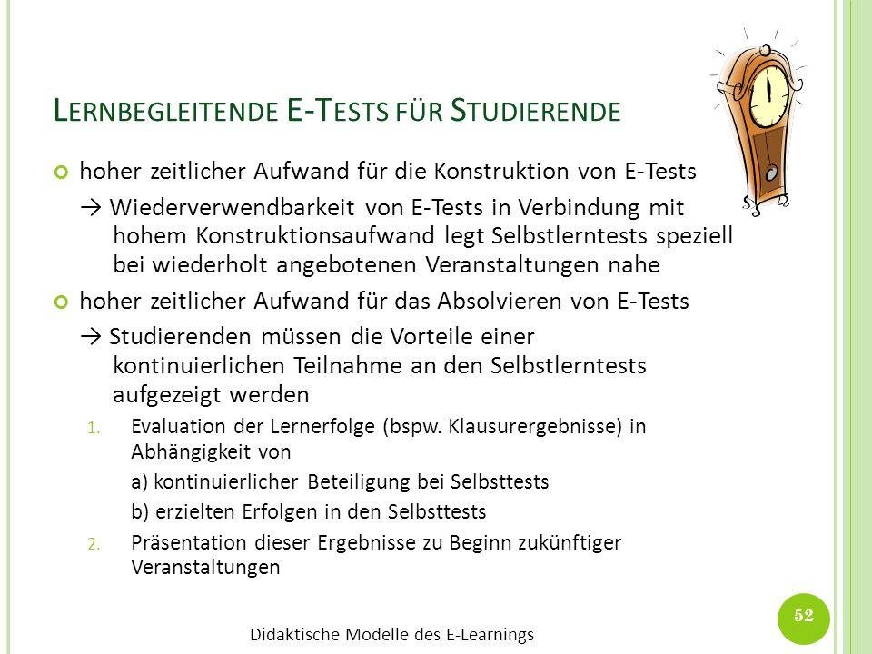 Lernbegleitende E-Tests für Studierende