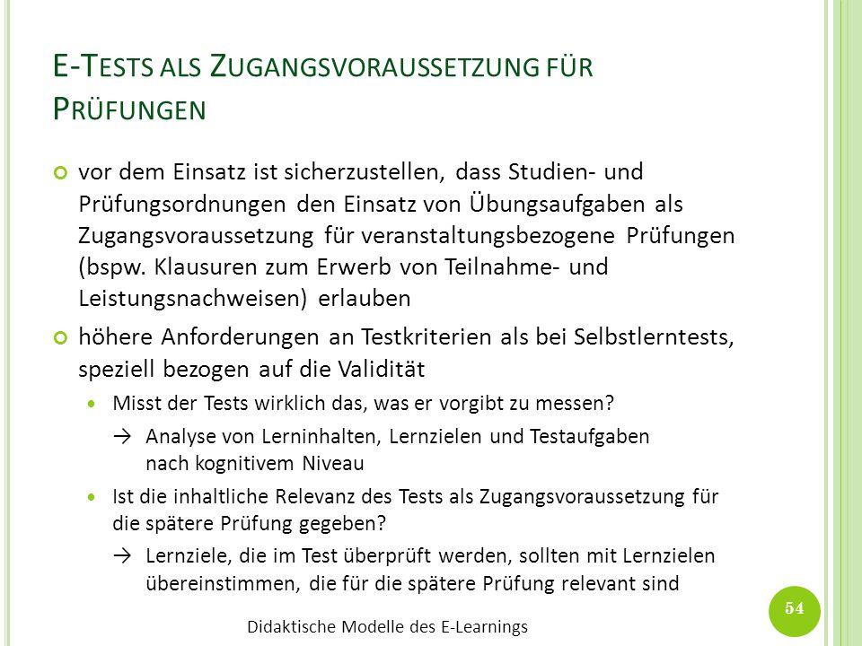 E-Tests als Zugangsvoraussetzung für Prüfungen