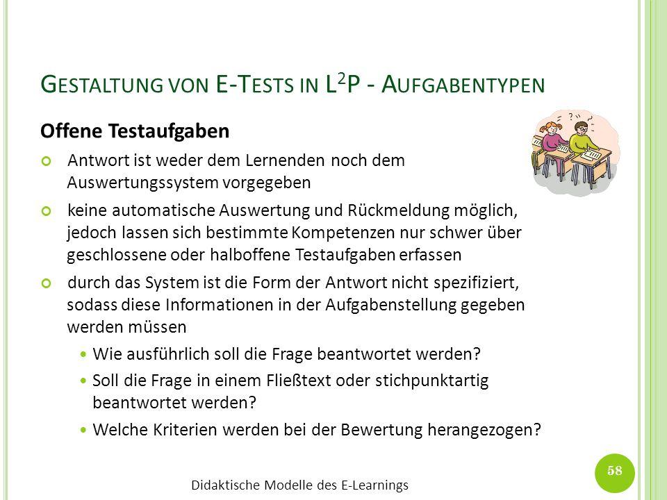 Gestaltung von E-Tests in L2P - Aufgabentypen