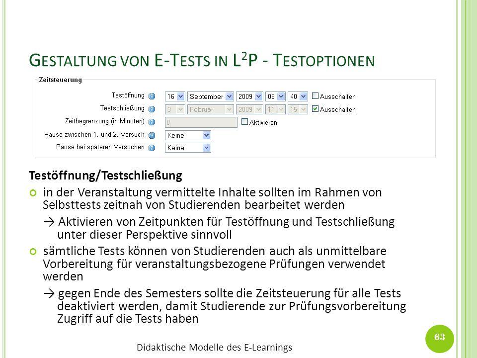 Gestaltung von E-Tests in L2P - Testoptionen