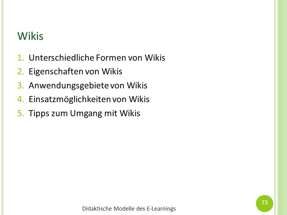 Wikis Unterschiedliche Formen von Wikis Eigenschaften von Wikis