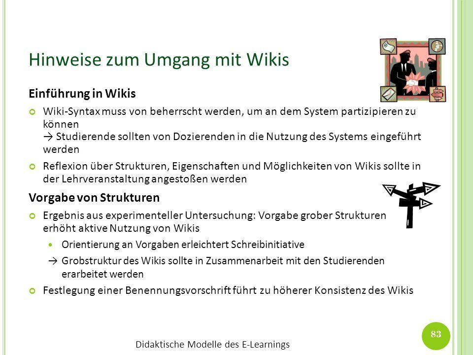 Hinweise zum Umgang mit Wikis