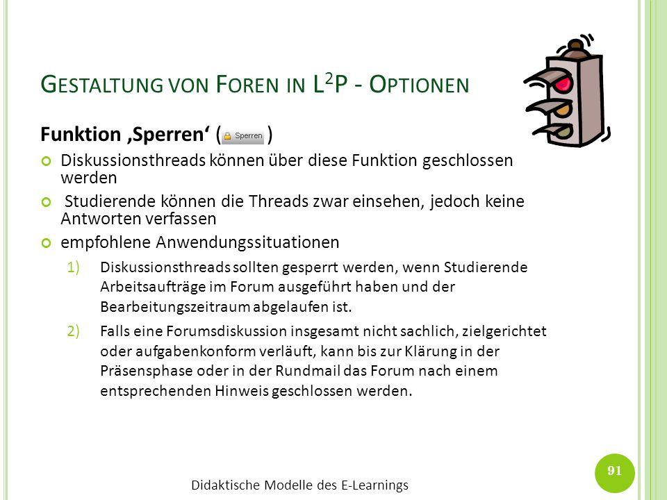 Gestaltung von Foren in L2P - Optionen