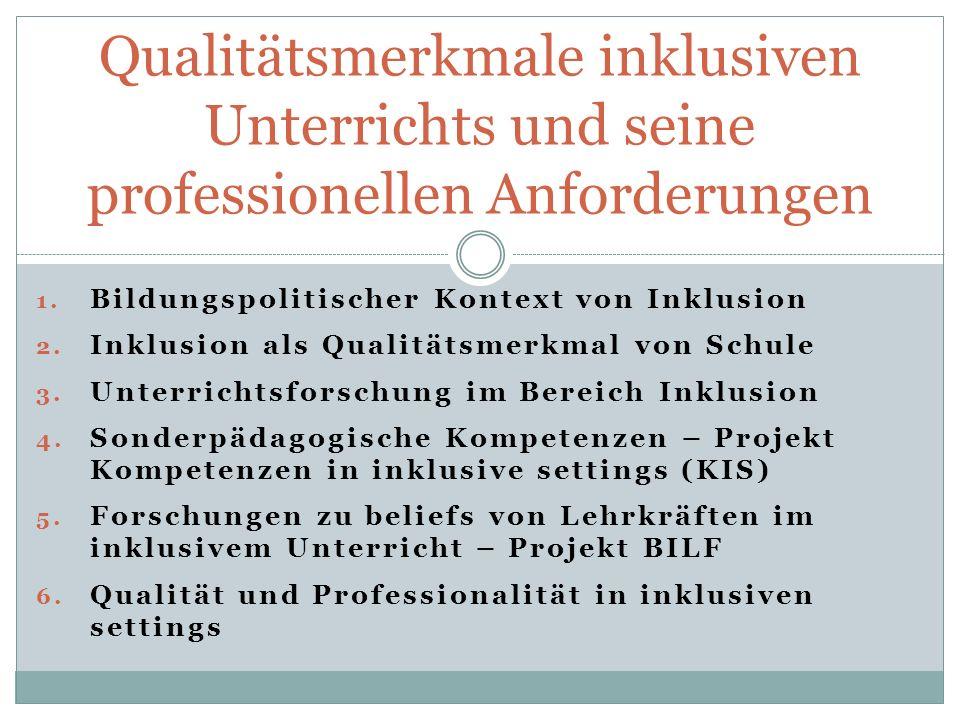 Qualitätsmerkmale inklusiven Unterrichts und seine professionellen Anforderungen