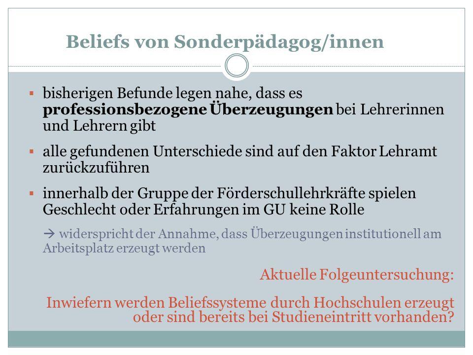 Beliefs von Sonderpädagog/innen