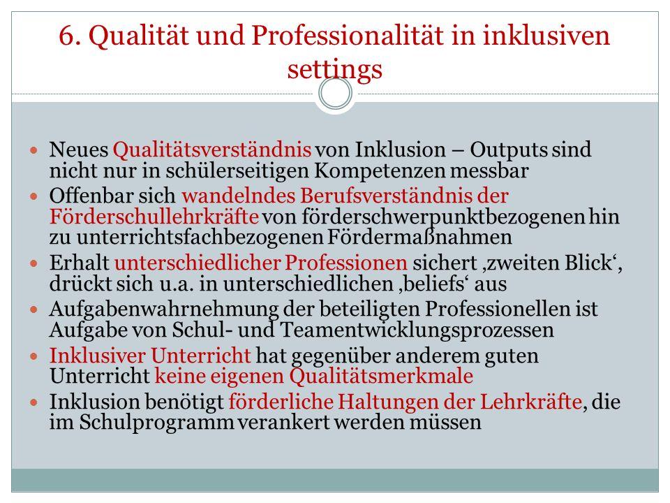 6. Qualität und Professionalität in inklusiven settings