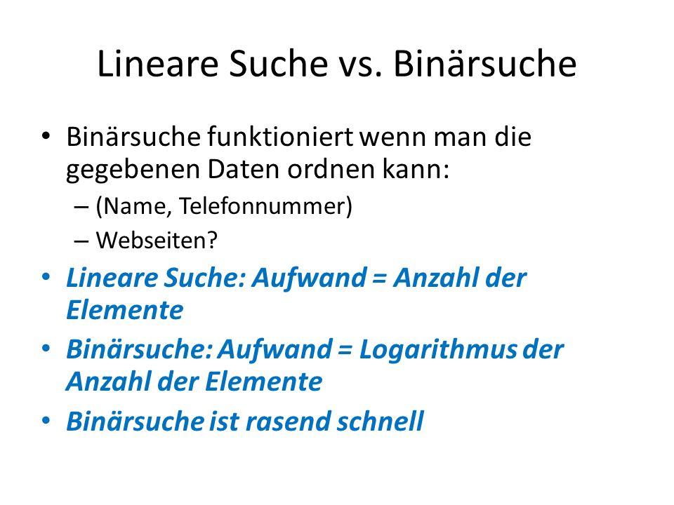 Lineare Suche vs. Binärsuche