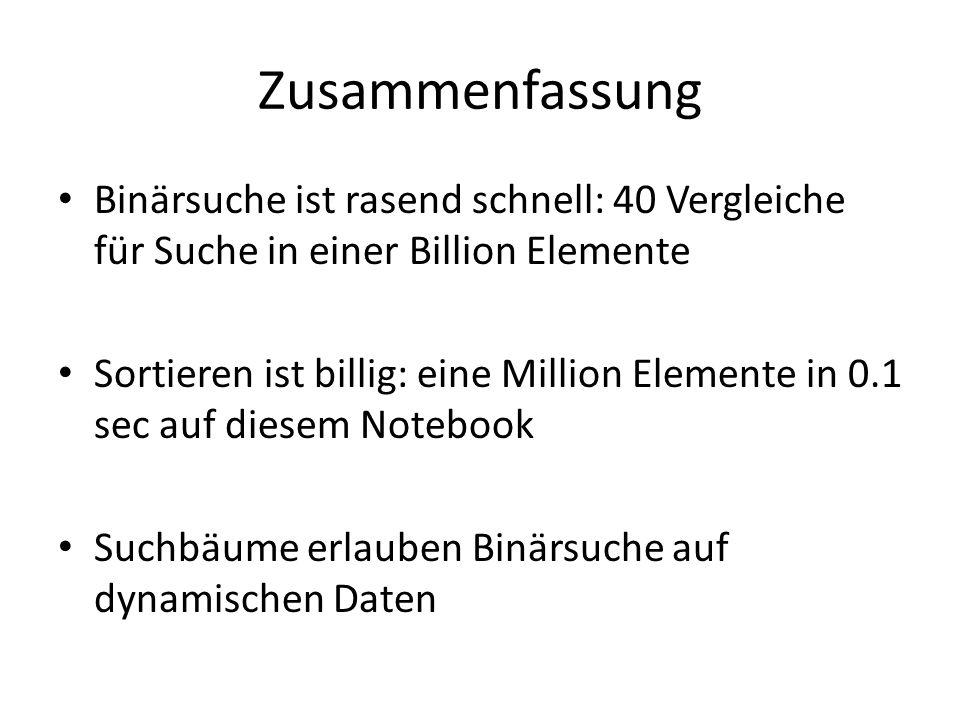 Zusammenfassung Binärsuche ist rasend schnell: 40 Vergleiche für Suche in einer Billion Elemente.