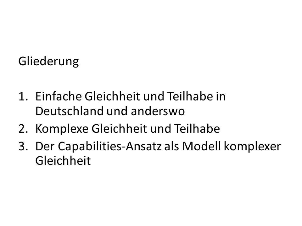 Gliederung Einfache Gleichheit und Teilhabe in Deutschland und anderswo. Komplexe Gleichheit und Teilhabe.