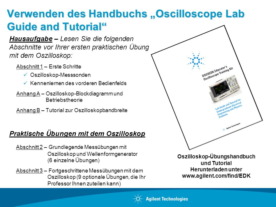 "Verwenden des Handbuchs ""Oscilloscope Lab Guide and Tutorial"