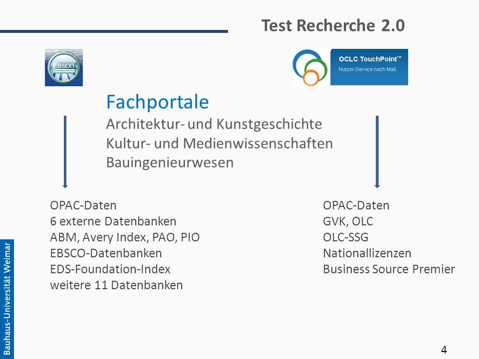 Fachportale Test Recherche 2.0 Architektur- und Kunstgeschichte