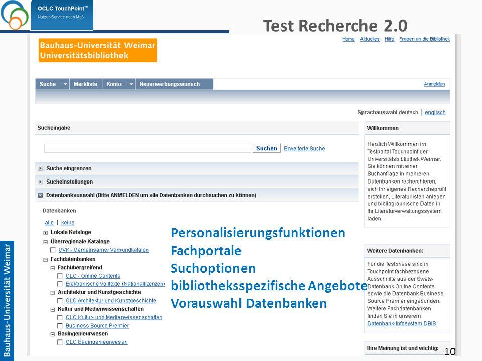 Test Recherche 2.0 Personalisierungsfunktionen Fachportale