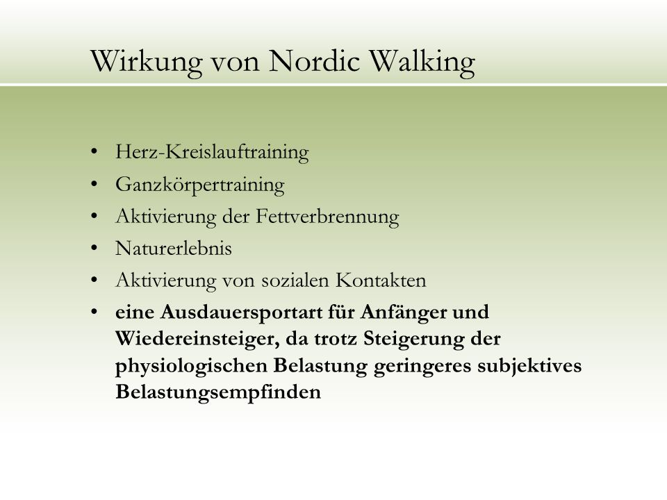 Wirkung von Nordic Walking