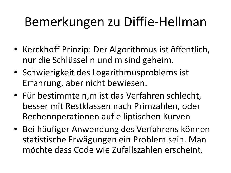 Bemerkungen zu Diffie-Hellman