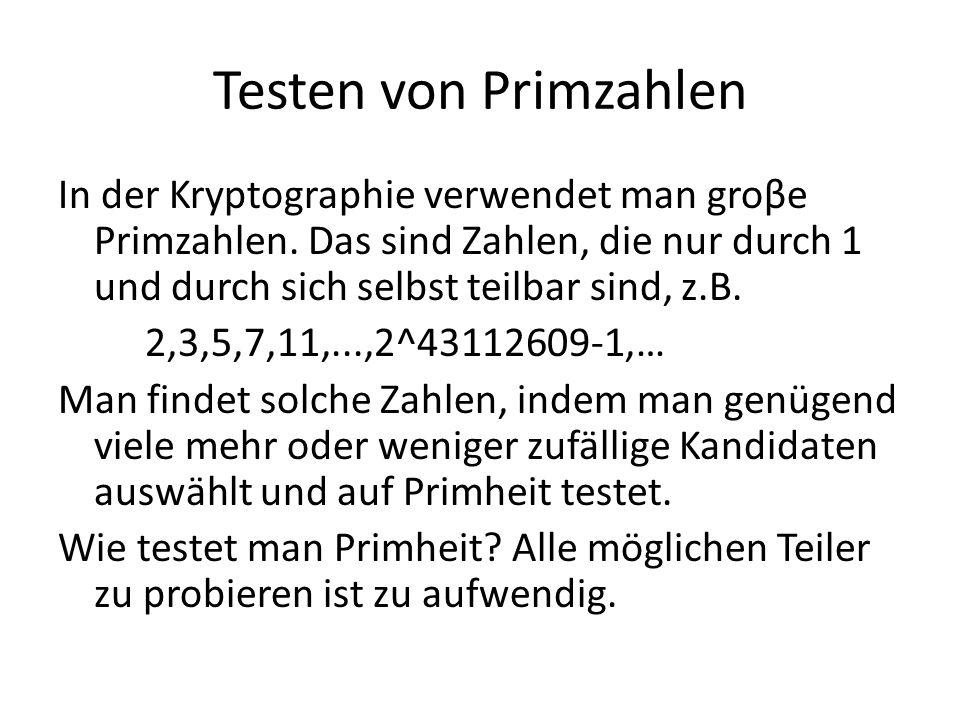 Testen von Primzahlen