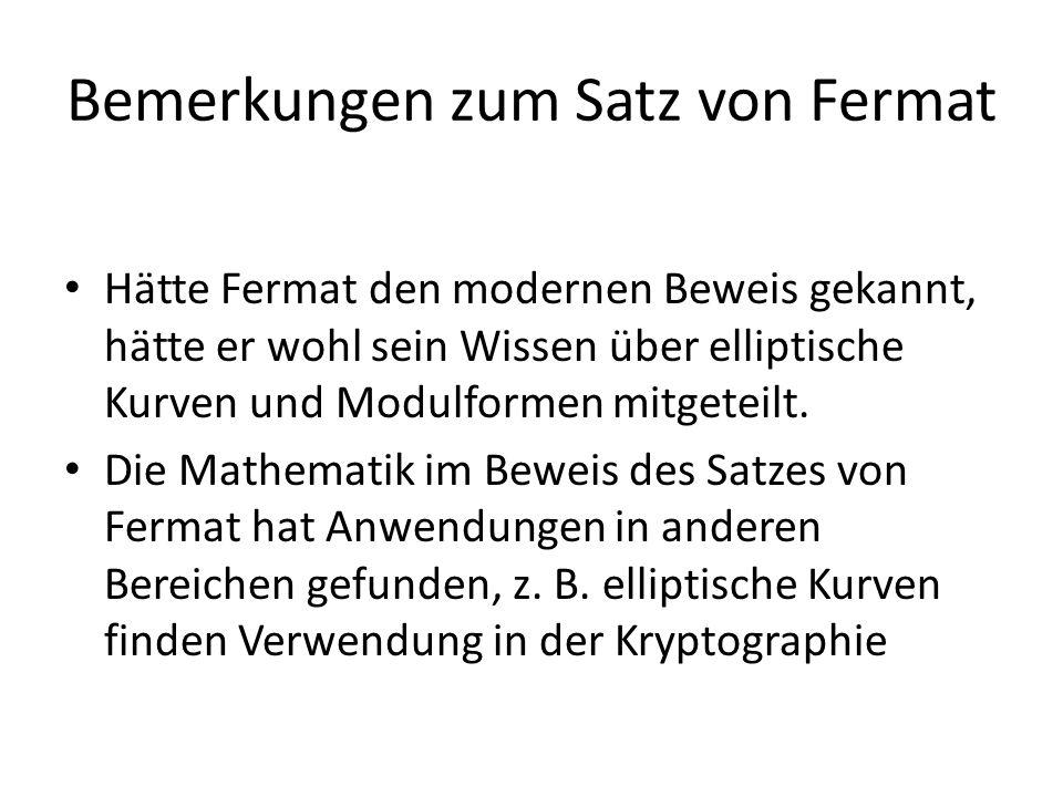 Bemerkungen zum Satz von Fermat
