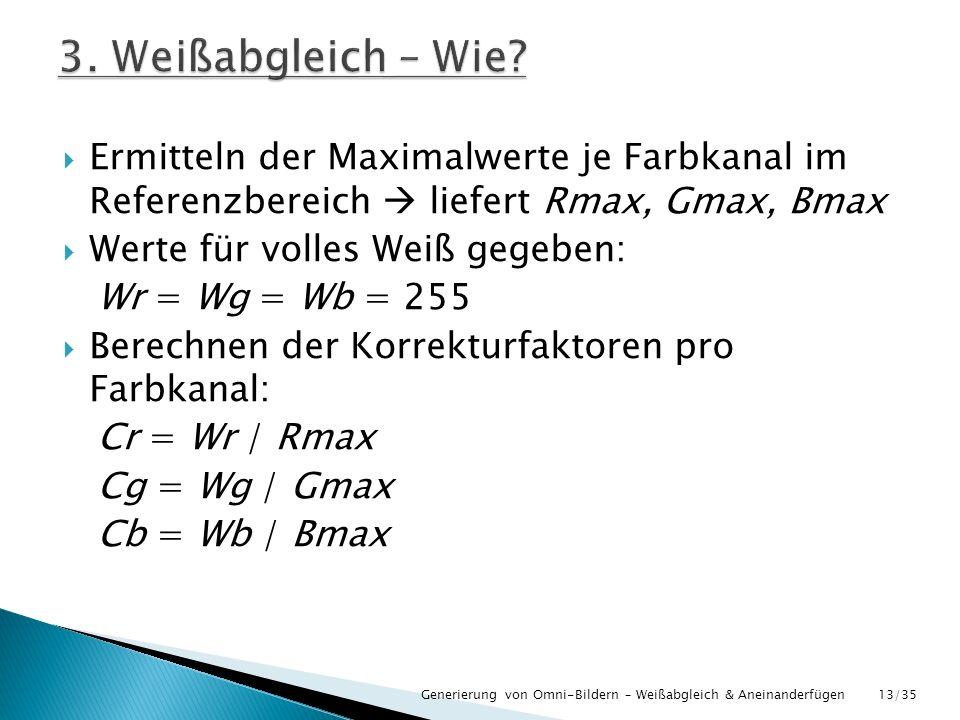 3. Weißabgleich – Wie Ermitteln der Maximalwerte je Farbkanal im Referenzbereich  liefert Rmax, Gmax, Bmax.