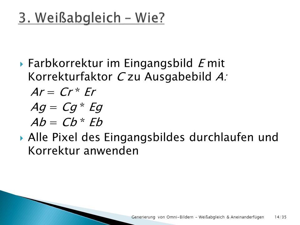 3. Weißabgleich – Wie Farbkorrektur im Eingangsbild E mit Korrekturfaktor C zu Ausgabebild A: Ar = Cr * Er.