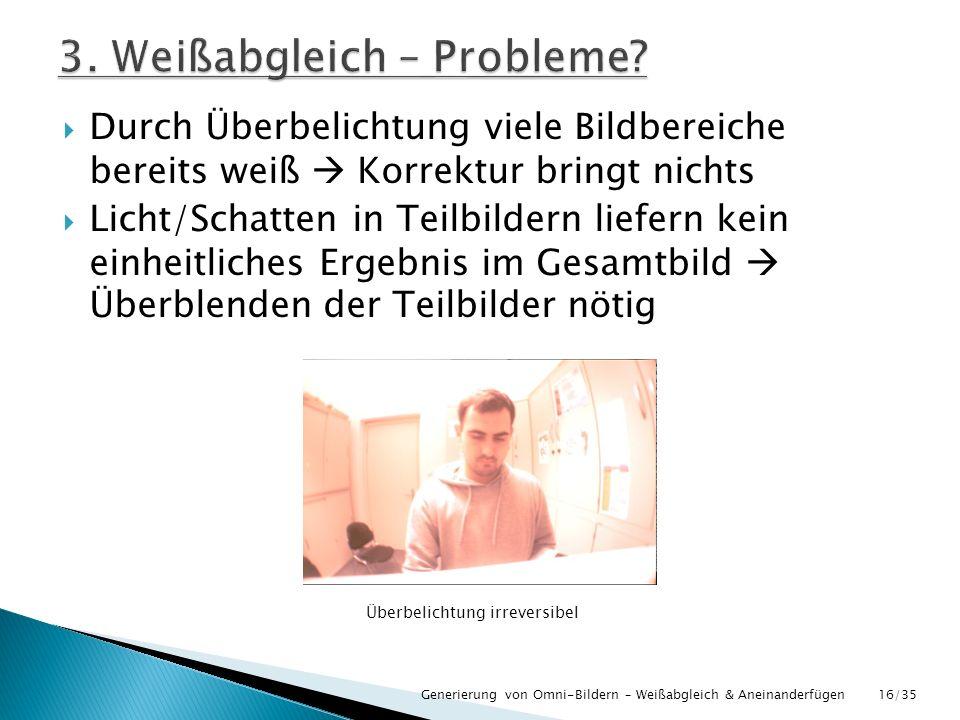 3. Weißabgleich – Probleme