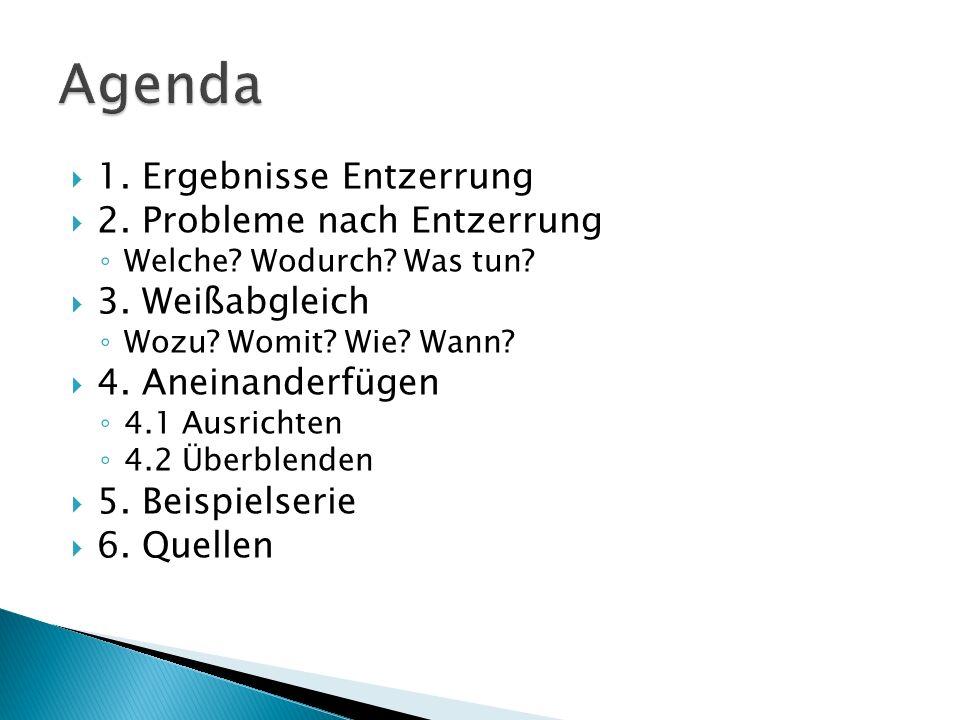 Agenda 1. Ergebnisse Entzerrung 2. Probleme nach Entzerrung