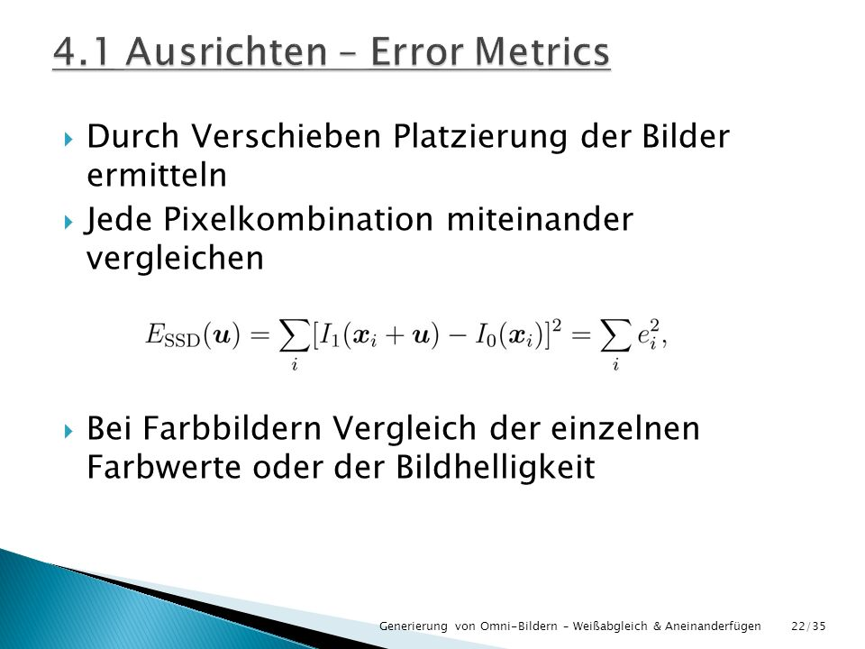 4.1 Ausrichten – Error Metrics