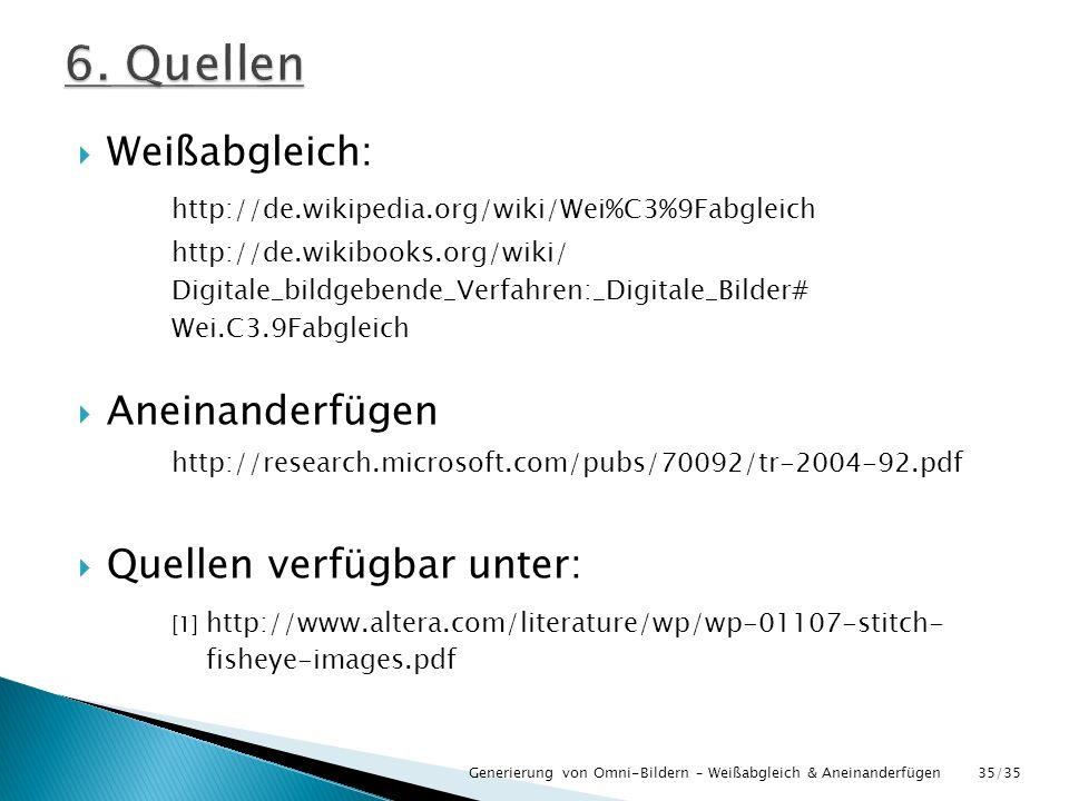 6. Quellen Weißabgleich: