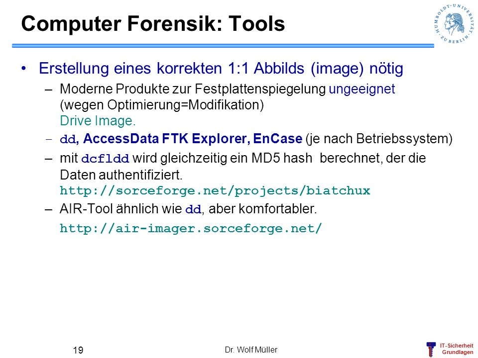 Computer Forensik: Tools