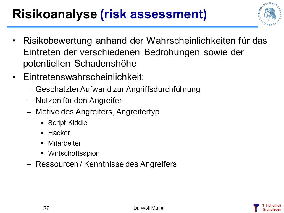 Risikoanalyse (risk assessment)