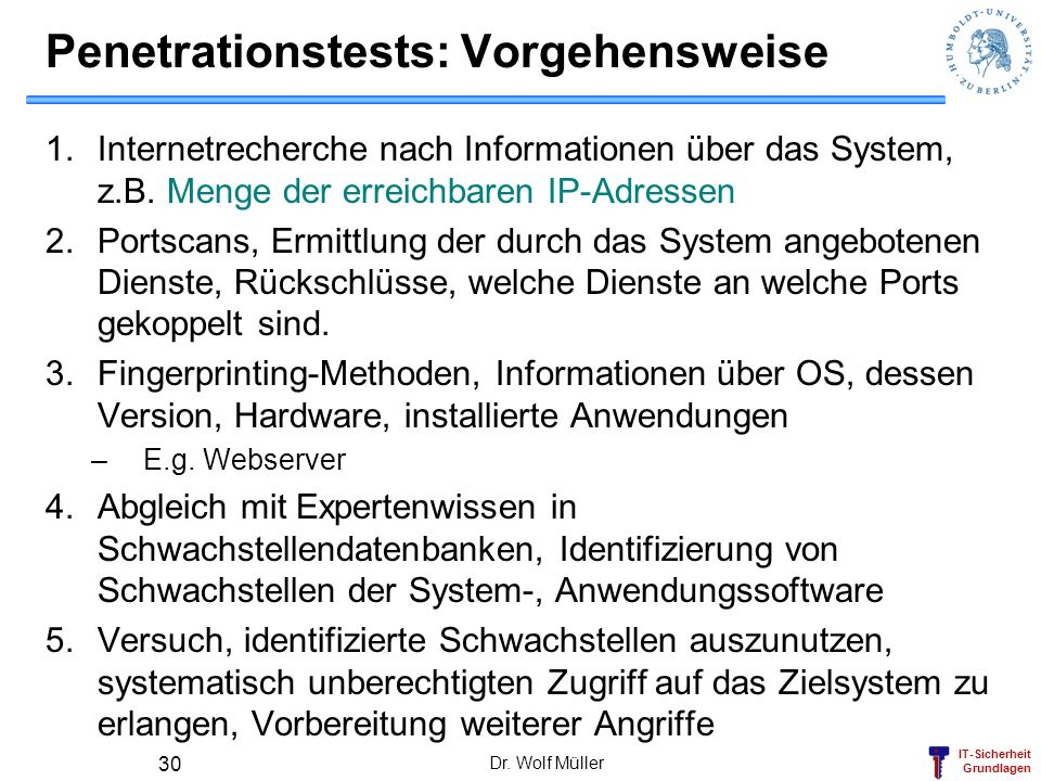 Penetrationstests: Vorgehensweise