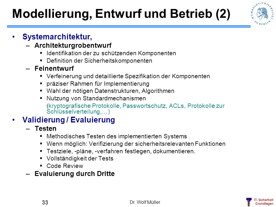 Modellierung, Entwurf und Betrieb (2)