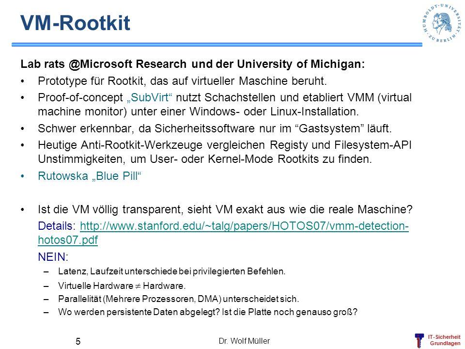 VM-RootkitLab rats @Microsoft Research und der University of Michigan: Prototype für Rootkit, das auf virtueller Maschine beruht.