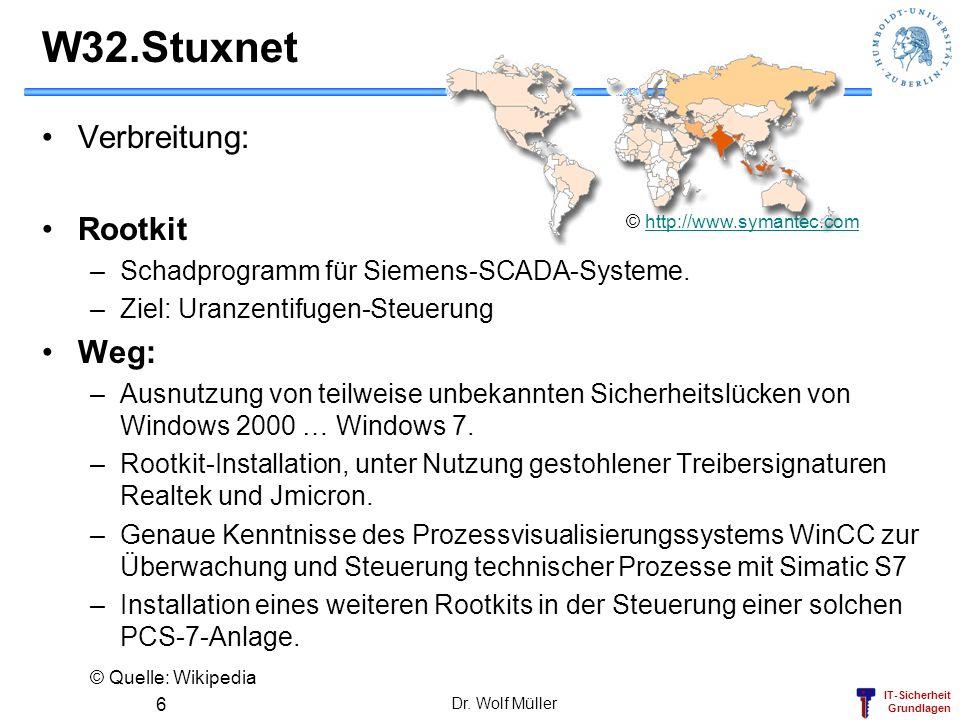 W32.Stuxnet Verbreitung: Rootkit Weg: