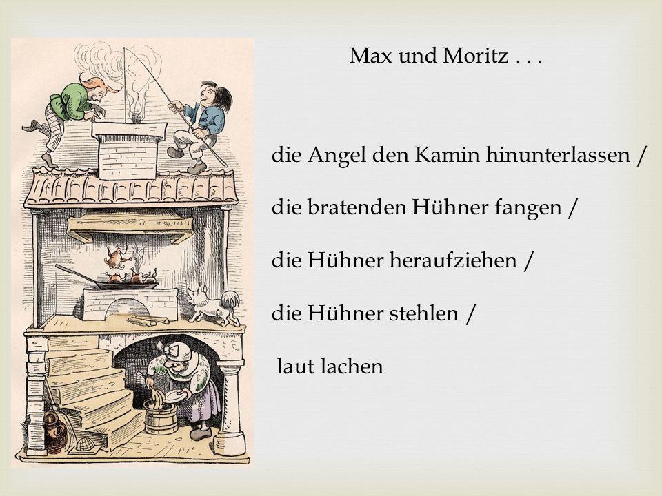 Max und Moritz . . . die Angel den Kamin hinunterlassen / die bratenden Hühner fangen / die Hühner heraufziehen /