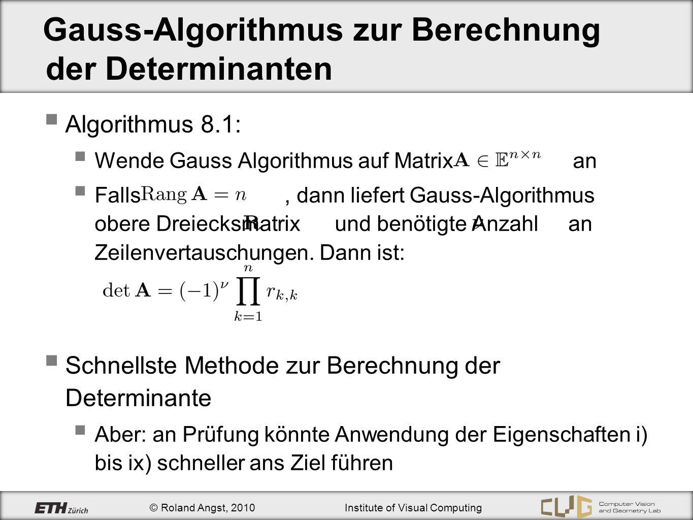 Gauss-Algorithmus zur Berechnung der Determinanten