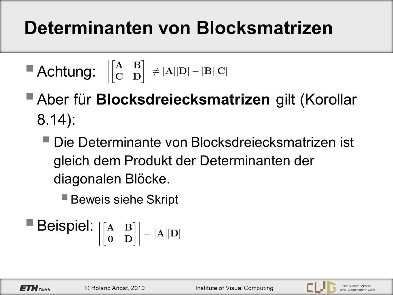 Determinanten von Blocksmatrizen