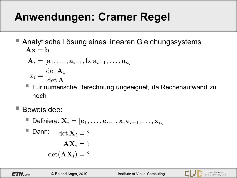 Anwendungen: Cramer Regel