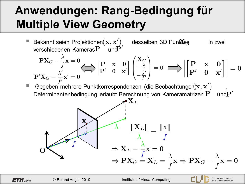 Anwendungen: Rang-Bedingung für Multiple View Geometry